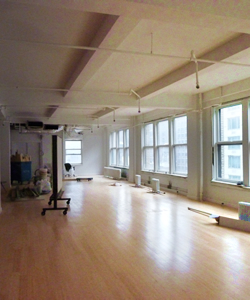 commercial loft with new polished hardwood floors