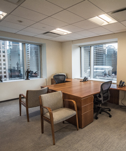 sunlit corner office on high floor plate